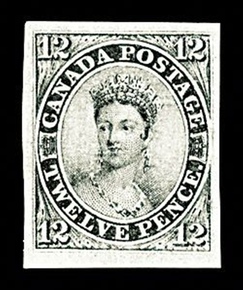 Canada 12- pence black stamp