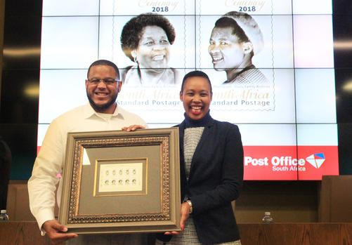 Grandson of Albertina, Duma Sisulu and minister of Communications, Stella Ndabeni-Abrahams at the launch of the Albertina Sisulu Centenerary Commemorative stamps at GCIS. Picture: Jacques Naude/African News Agency/ANA