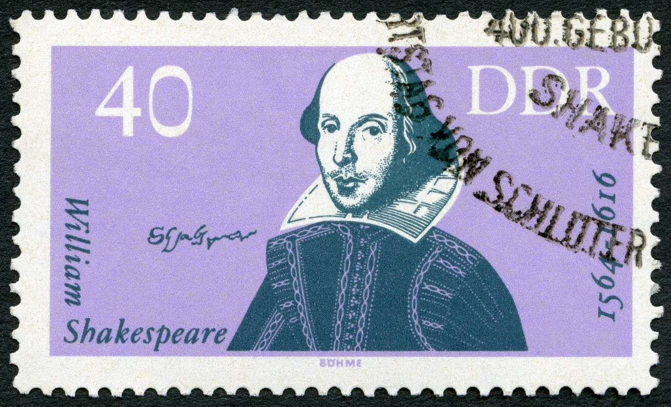 A 1964 postage stamp from the German Democratic Republic shows William Shakespeare (1564-1616) and celebrates the 400th anniversary of his birth.