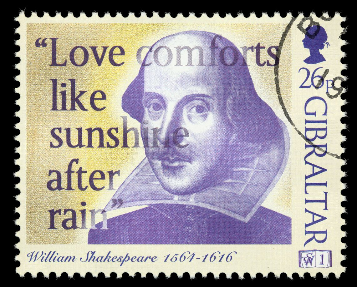 "A 1998 Gibraltar postage stamp with an illustration of William Shakespeare, part of its ""Stamps of Wisdom"" series."