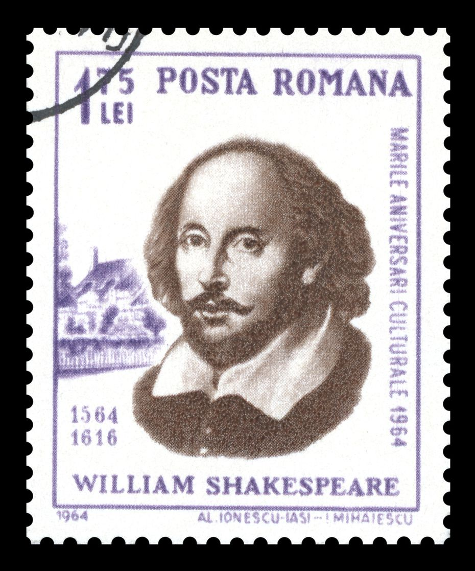 A 1964 Romanian postage stamp celebrates the 400th anniversary of the birth of William Shakespeare, showing a portrait engraving of the famous English Elizabethan playwright.